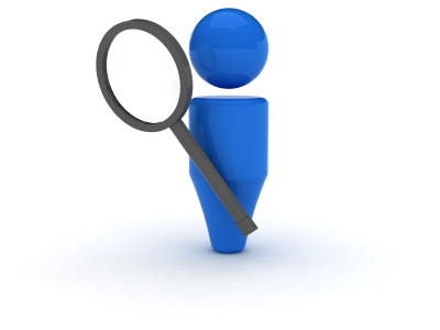 Blue person icon holding a magnifying glass